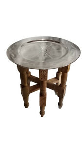 "Moroccan Tray Folding Table 24"" x18"" H. Silver Multi-Hand Design Carved Wood"