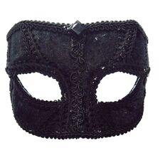 Black Men's Velvet Eye Mask - Fancy Dress Male Masquerade Style Glasses Party