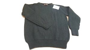 "Jumper Shetland Dark Moorland Green Sweater Fishing Game 44"" QUALITY WOOL Bx1R13"