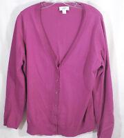 Ann Taylor loft size large cardigan womens dark pink V neck long sleeve sweater
