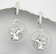 "1.50"" Solid Sterling Silver Sparkling Bowing Horse Huggies Dangle Earrings 7.8g"