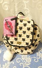 LUV Betsey by Betsey Johnson LBGrad Cats Pink & Black Quilted Backpack NWTs !
