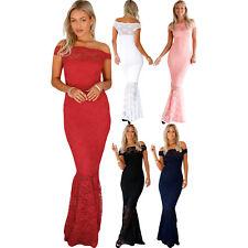 bardot lace fishtail maxi dress evening ceremony women formal festive summer zip