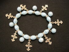 Blue Beaded Stretch Bracelet with Silver tone Cross Charms