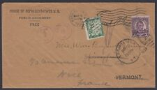 1932 U.S. Congress Free Frank penalty cover DC to VT forwarded to Nice, France