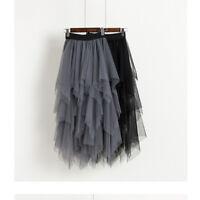 Women's Chiffon Tulle High Waist Pleated Tutu Skirt Casual Midi Dress Ball Gown