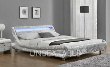 LED Double King Size Velvet Fabric Bed Frame Silver or Black With Mattress NEW