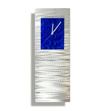 Blue and Silver Abstract Metal Wall Clock Art Decor GIFT IDEA by Jon Allen