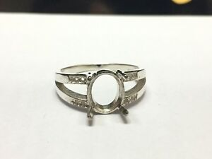 925 Sterling Silver Semi Mount Ring Setting 8 x 10 mm Oval Stone Engagement Ring