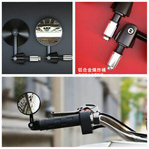 Wide Range View 73mm Motorcycle Rear View Mirrors Black w/22mm CNC Handle Bar