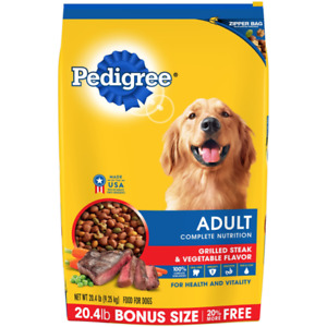 Pedigree Adult Grilled Steak and Vegetable Flavor Dog Dry Food - 20.4lbs.