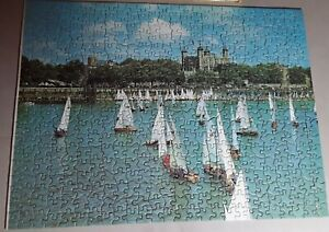 """VINTAGE TUCO  PICTURE  PUZZLE ANNUAL """"TIDEWAY RACE"""" ENGLAND  14 1/8"""" X 19"""" USA"""