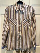 ARNOLD ZIMBERG Mens Casual Button Down Shirt Medium M Purple Cream Multi Stripe