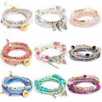 Women Boho Natural Stone Crystal Tassel Beaded Bracelet Bangle Pearl Jewelry New