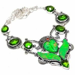 """Flying Goddess - Copper Green Turquoise, Peridot Jewelry Necklace 18"""" ZN-895"""