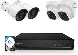 Überwachungskamera Aussen Set, 8CH Videoüberwachung, 4X 5MP PoE IP Kamera 4K 2TB
