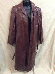 Vintage 1970s Womens spy hippie boho Size 14 Long Leather Jacket Red Trench Coat