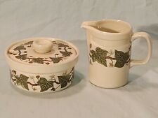 Wedgwood Napoleon Ivy, Creamer & Sugar Bowl w/ Lid, Oven to Table