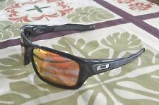 New Oakley Turbine Sunglasses Pol Black / Custom Polarized Ruby Irid w Silver O