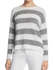 NWT Eileen fisher graphite white organic linen knit striped round neck top Sz M