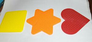 Hama / Perler Fuse Bead Pegboards - Set of 3 + ironing paper