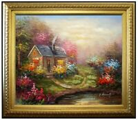 Framed Impression Flowering Cottage, Hand Painted Oil Painting 20x24in