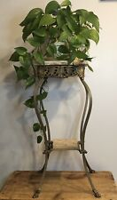 Beautiful Antique 1920's Art Deco Ornate Brass Marble Coffee Flower Table Decor