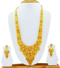 Indian Fashion Jewelry Long Necklace Set Gold Plated Earrings Bridal Jewelry Set