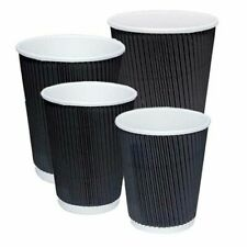 8/12/16oz BLACK STRONG RIPPLE DISPOSABLE PAPER COFFEE CUPS FOR HOT DRINKS & LIDS
