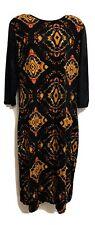 Women's Long Sleeve Maxi Dress Stretch By Atmosphere Size 20 Orange Mix