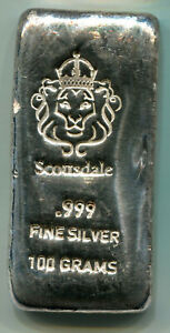 100 gram Scottsdale Mint Trademark Bar .999 Fine silver