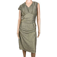 Maggy London V Neck Ruched Sheath Metallic Gold & Green Cocktail Dress Size 14
