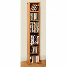 Oak Media Storage Tower Bookcase CD DVD Stand Books Shelves Wooden Unit Rack
