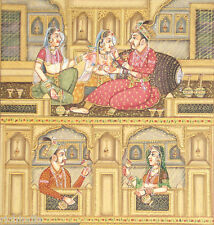 Rajput King Queen HAREM MINIATURE PAINTING India Classical Vintage Ethnic Art