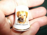 vintage Yellow Lab ~LABRADOR RETRIEVER Dog ceramic Thimble figurine Lim.Edition