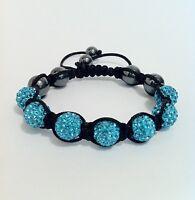 Shamballa Bracelet with 7 Light Blue Swarovski Crystal Beads & 6 Hematite Beads