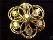 Vintage Gold tone Aroura Borealis Rhinestone Pin Brooch