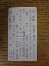 28/12/1994 Cricket Ticket: Australia v England [In Melbourne] The Ashes 2nd Test