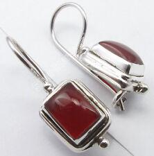 "925 Silver RED FIRE CABOCHON CARNELIAN Fix Wire Earrings 1"" BIRTHDAY GIFT"