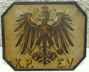 PRUSSIAN STATE RAILWAY K.P.E.V. CAST IRON SIGN