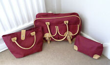 Set of 3 Small Bags Cherry Red Canvas Travel Collapsible Folding Flat  - NEW