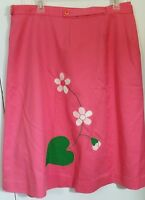 CUTE! 1970s Vintage Pink Wrap Around Skirt Floral Flowers Cotton Large Womens