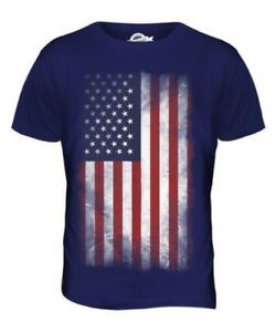 STARS AND STRIPES FADED FLAG MENS T-SHIRT TEE TOP USA US UNITED STATES AMERICA