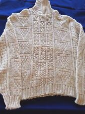Vtg Vintage DQ Irish Fisherman Turtleneck Sweater Women Size XL Aran Wool