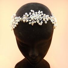 Bridal Band Tiara, Silver Crystal Pearl, Wedding Bridesmaid Prom, Handmade in UK