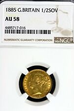 1885 - Ngc Au58 Great Britain 1/2 Sovereign Gold! #B11104