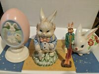 Vintage Lot of 4 Ceramic Easter Egg and Bunny Rabbit Figurines   3 to 5 inches