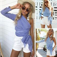Women's Summer Loose Tops Long Sleeve Shirt Casual Blouse T-Shirt Blue S CHC01