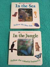 "Set Of 2 Little Windows"" In The Jungle""&""In The Sea"" Hardcover /Board Kids Books"