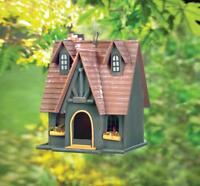 Thatch Roof house Cottage Folk Art Wood fairy Bird house decorative birdhouse